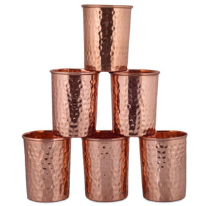 Crockery Wala & Company Pure Copper Hammered  Glass 300ml