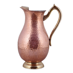 Crockery Wala And Company Copper Kalai Jug Hammered Design Maharaja Water Jug Jar With Brass Handle & Stand 1400 ML
