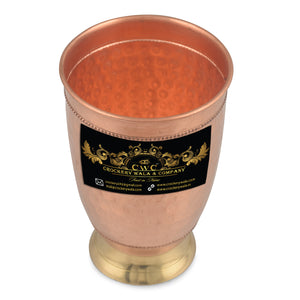 Crockery Wala And Company Copper Brass Hammered Goblet Glass Copper Glass Tumbler 400 ML, 1 Pc