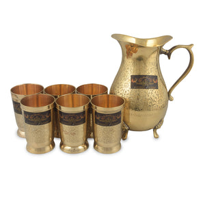 Crockery Wala And Company Brass Jug 1750 ML And Six Glass