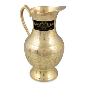 Crockery Wala And Company Brass Mughalai Jug For Serving Water & Drinks Brass Jug Tumbler With 6 Brass Glasses Jug 1500 ML