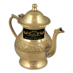 Crockery Wala And Company Brass Kettle Royal Mughlai Style Pot For Serving Drink & Beverages Brass Tea Pot Kettle 500 ML