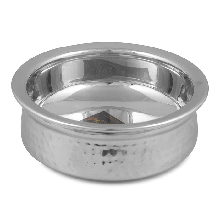 Crockery Wala And Company Stainless Steel Serving Handi Hammered Design Handi Bowl Serveware