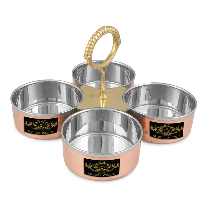 Crockery Wala And Company Handmade Steel Copper 4 Bowl Compartment Pickle Set For Serving Restaurant Ware Hotel Home