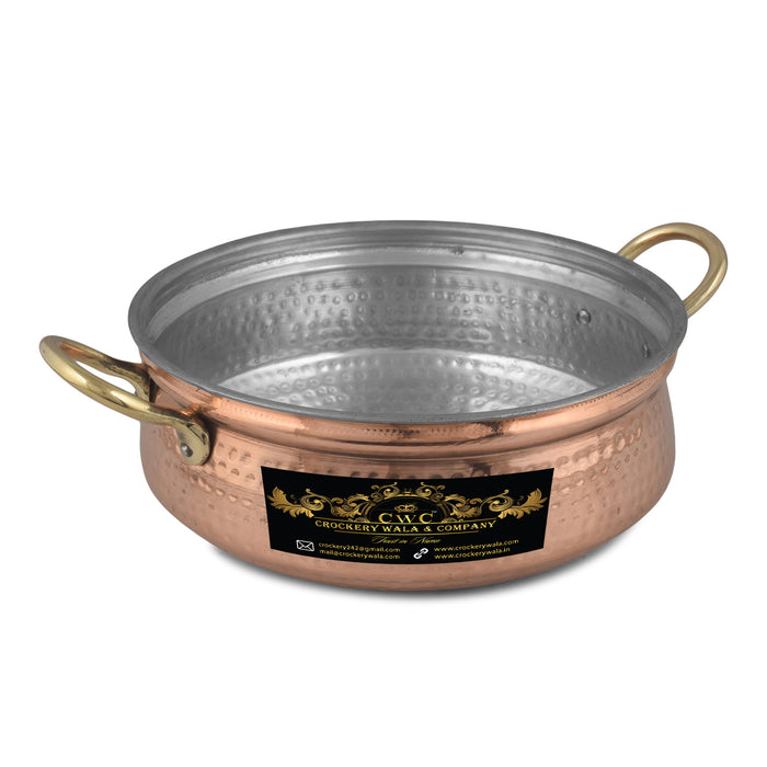 "Crockery Wala And Company Pure Copper Kalai Handi For Serving & Cooking Pure Copper Hammered Handi With Brass Handles || 9"" Inches"