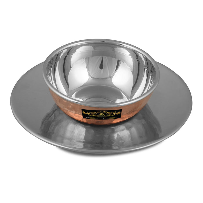 Crockery Wala And Company Copper Steel Finger Bowl Plate For Rinsing Fingers After Meal For Hotel & Restaurant