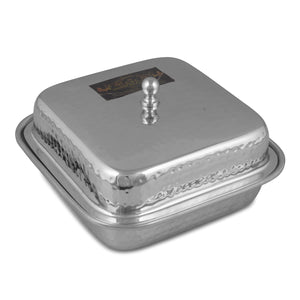 Crockery Wala And Company Stainless Steel Entry Dish Hammered Design Square Snacks Serving Dish With Lid