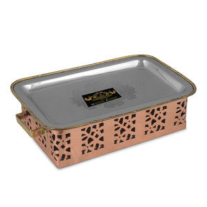 Crockery Wala And Company Copper Steel Hammered Snacks Warmer Sigdi With Brass Handles Portable
