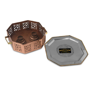 Crockery Wala And Company Copper Steel Hammered Snacks Warmer Sigdi With Brass Handles Portable Dish Warmer With 2 Burners