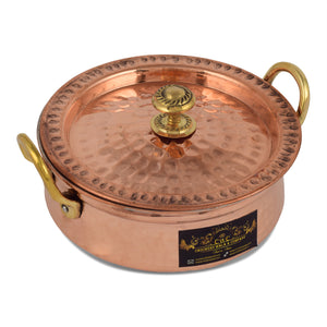 Crockery Wala And Company Copper Kalai Handi With Lid Hammered Design Handi For Cooking & Serving 2250 ML