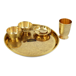 Crockery Wala & Company Brass Rajwara Style Dinner Thali Set of 6 pcs
