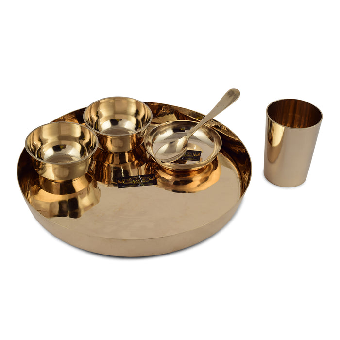 Crockery Wala And Company Bronze Thali Set Of 6 Pcs Bronze Dinnerware Serveware Plain Thali Dinner Set
