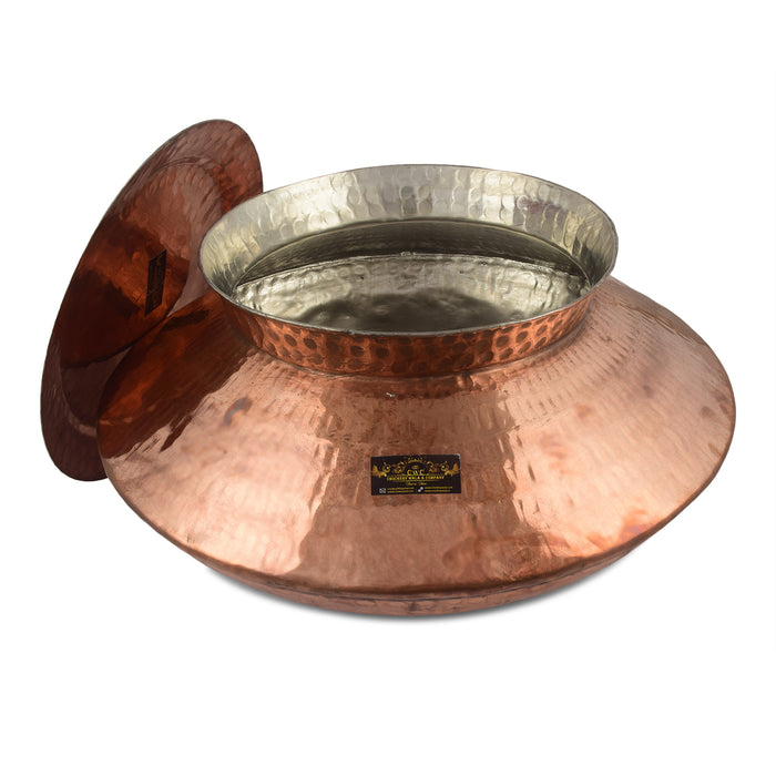 Crockery Wala And Company Copper Patili Handi For Cooking with kalai done inside  & Serving Biryani Patila Punjabi Handi Bowl 3000 Ml