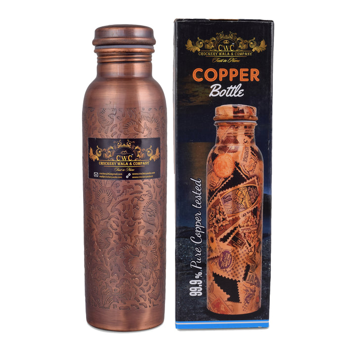 Crockery Wala And Company 1100 Ml Pure Copper Bottle Antique Finish
