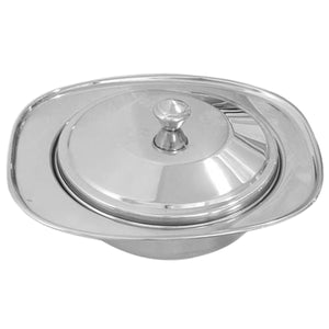 Crockery Wala And Company Stainless Steel Donga Dish Serving Casserole Donga With Lid Laser Finish | Large