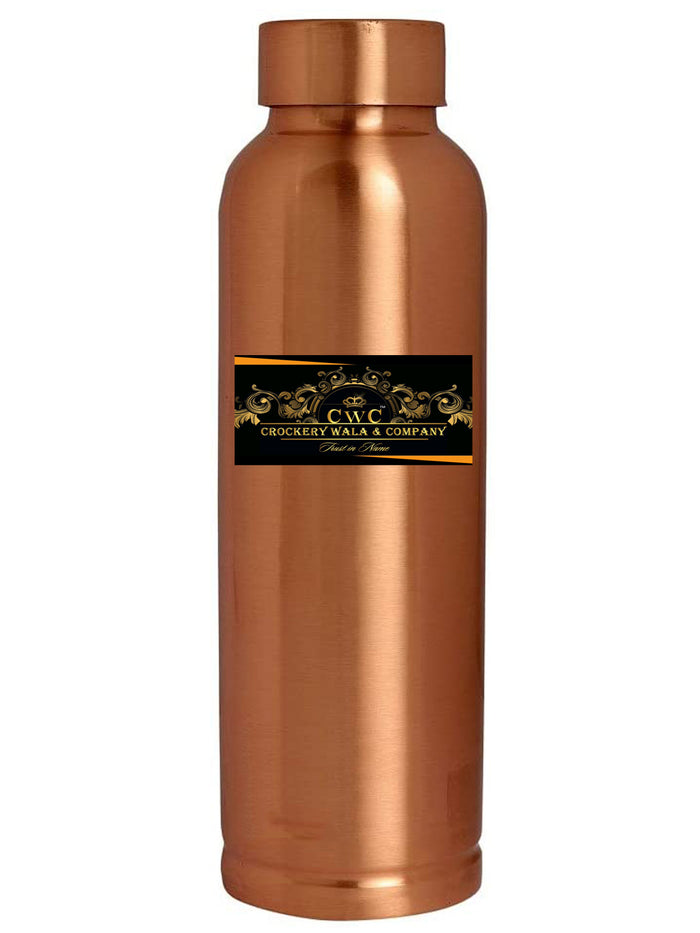Crockery Wala And Company Pure Copper Bottle Flask Lacquer Coated Leakge Proof Jointless Bottle 1000 ML | 1 Pc