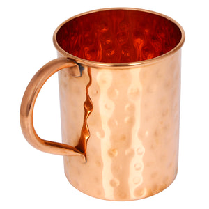 Crockery Wala And Company Copper Hammered Glass Mug Cup Copper Glass Tumbler, Mug With Handle 400 ML, 1 Pc