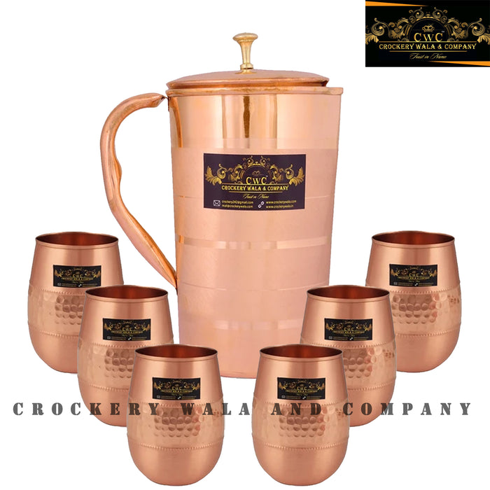 Crockery Wala And Company Pure Copper Jug Glass Combo Set Of Copper Drinkware || 1 Jug & 6 Glass