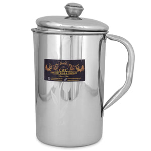 Crockery Wala And Company Stainless Steel Water Jug Pitcher Jar Juice Beverages Serving Jug Jar Tumbler