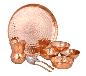 Crockery Wala & Company Pure Copper Thali Set of 8 pcs - Crockery Wala And Company