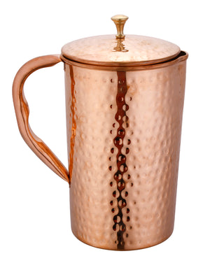 Crockery Wala And Company Pure Copper Water Jug Pitcher Hammered,1500 ml - Crockery Wala And Company