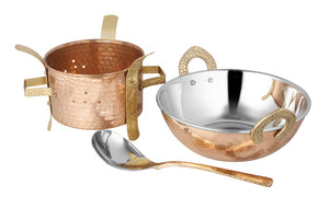 Crockery Wala & Company Copper Sigri With Brass Stand & Steel Copper Kadai With Serving Spoon, Food Warmer, Serving Dishes Curry Home, Hotel, Restaurants