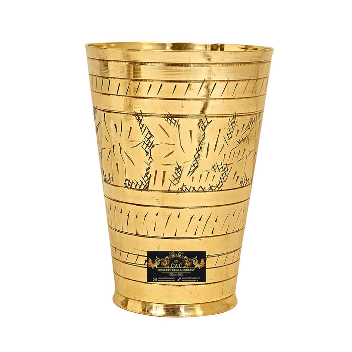 Crockery Wala & Company Embossed Flower Design Brass Lassi Glass Tumbler (Gold, 400ml)