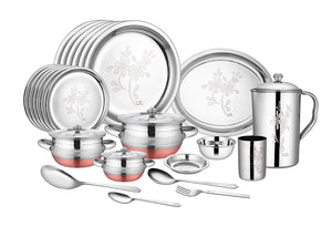 CROCKERY WALA AND COMPANY Laser Finish Stainless Steel Dinner Set, 63 Pieces, Silver - Crockery Wala And Company
