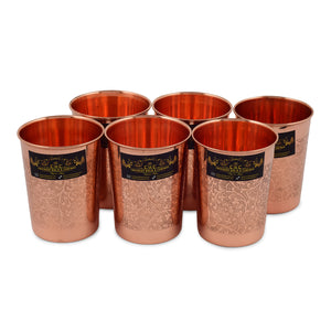 Crockery Wala And Company  Designer Copper Glass Tumbler, Drinkware, Beneficial for Health, 300 ML Set of 6  (e)