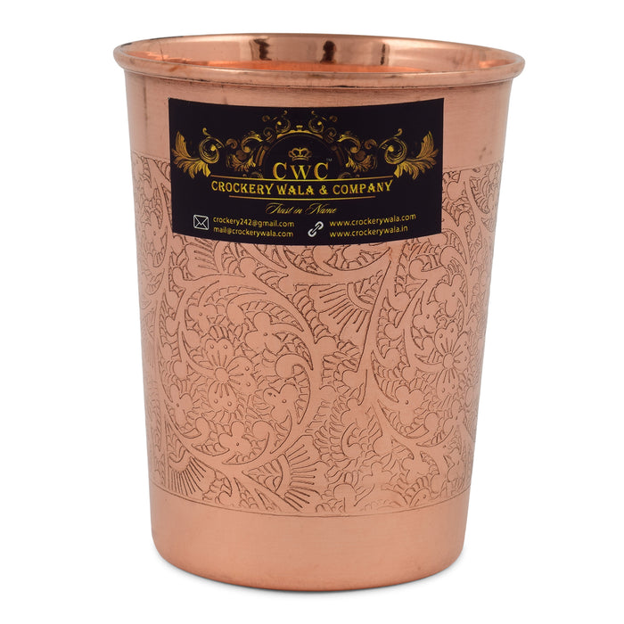 Crockery Wala And Company Designer Copper Glass Tumbler, Drinkware, Beneficial for Health, 300 ML