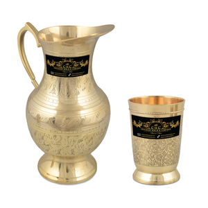 Crockery Wala And Company Brass Jug & Glass Set Brass Royal Serveware Jug & Glasses Tableware | Jug & 1 Glass