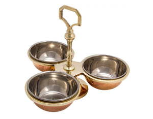 Crockery Wala & Company Copper Condiment Pickle Bowl Set With Handle, Tableware, 250 Ml Each, Pack Of 3