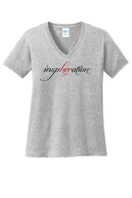 Women's Ash Gray inspHERation™ V-Neck, Short-Sleeve T-Shirt
