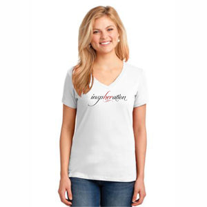 Women's White inspHERation™ V-Neck, Short-Sleeve T-Shirt