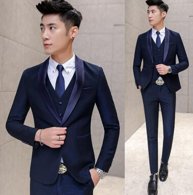 Purple Prom Suit Costume Mariage Homme Navy Purple Tuxedos For Men