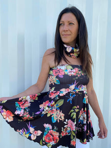 BLACK FLORAL MOD-MINI - TUNIC/SKIRT