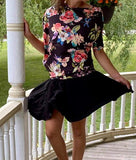 Asymmetric Top -- BLACK FLORAL