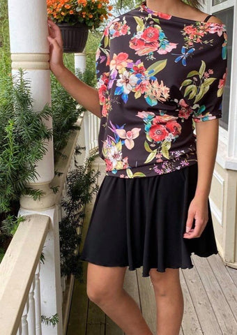Asymmetric Top BLACK FLORAL