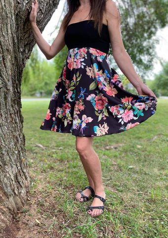 Mod Circle Skirt/Dress -- BLACK FLORAL