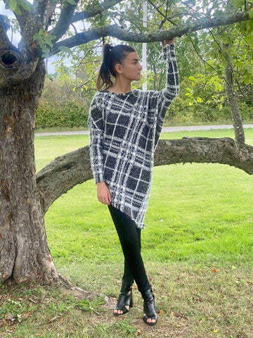 Asymmetric Sweater PLAID CLOUD