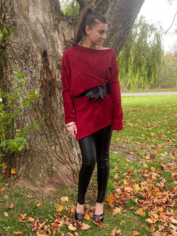 Asymmetric Sweater -- RED LEAF