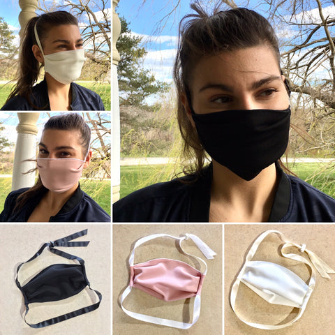 SCUBA-CRÉPE Face Mask | Ribbon Strap -- 3 Options