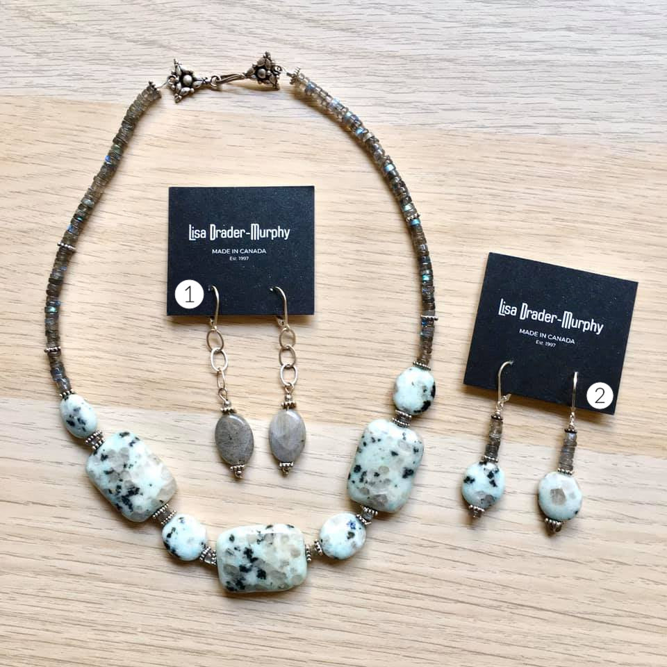 Artisan Jewelry - White Speckled Stone and Sterling Silver Necklace and Earrings