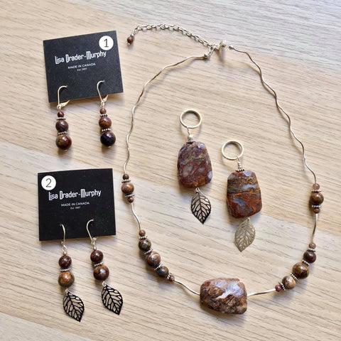 Artisan Jewelry - Brown and Lavender Stones Necklace, Pendant and Earrings