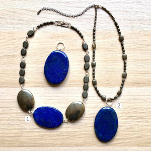 Artisan Jewelry - Blue Stone and Sterling Silver Necklace and Pendant