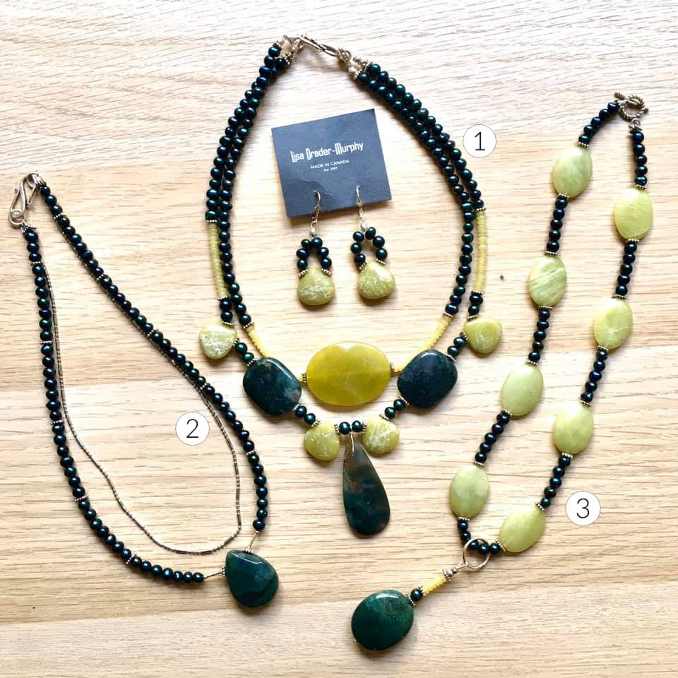 Artisan Jewelry - Shades of Greens Precious Gems Necklace and Earrings