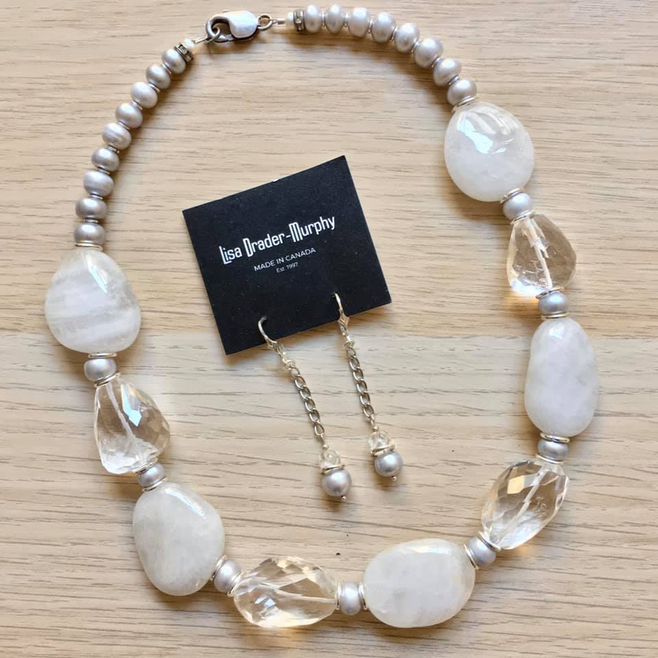 Artisan Jewelry - Pearl Necklace and Earrings