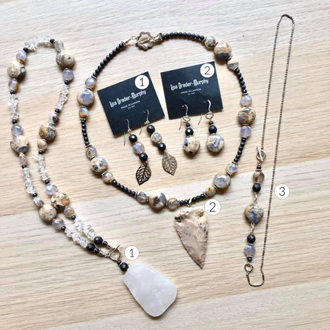 Artisan Jewelry - Marble Stones Necklace, Pendant and Earrings