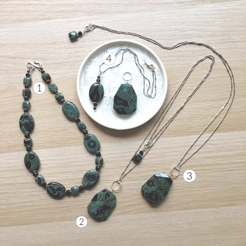 Artisan Jewelry - Peacock Stone and Sterling Silver Necklaces and Pendant