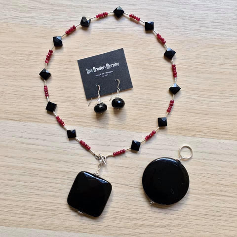 Artisan Jewelry - Black Onyx and Ruby and Necklace, Pendant and Earrings